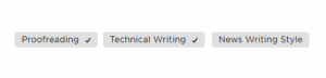 Upwork skills cloud with checkmarks