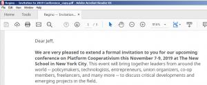 Platform Coop Conference Invitation